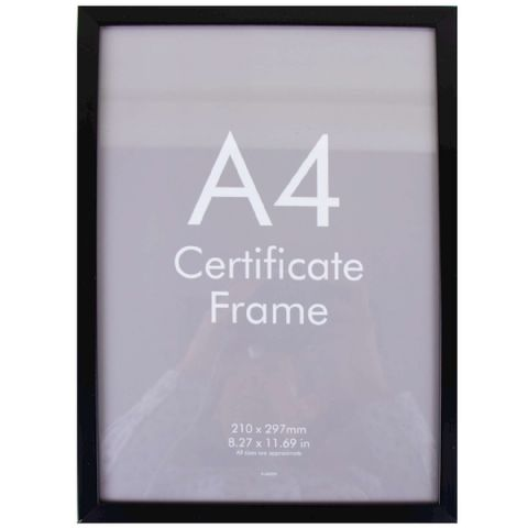 A4 Black Safety Plastic Photo Picture & Certificate Frame